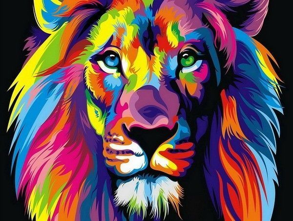 HD Print oil painting ART modern wall art on canvas the Color Lion - by Wahyu…