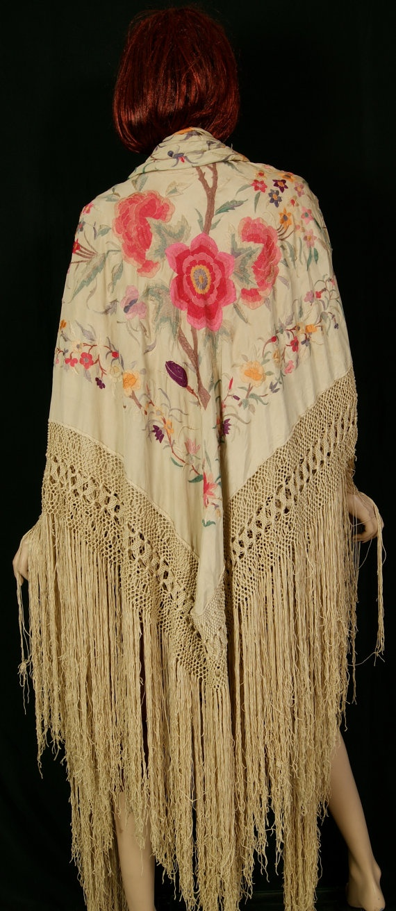 20s Piano Shawl Canton Silk Embroidered 1920s by HicUpLounge