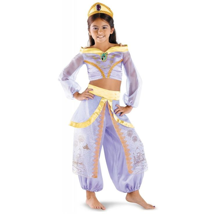Storybook Jasmine Prestige Costume. Costume includes top with Jasmine cameo, pants with glitter character art, and bejeweled headpiece. Our Storybook Jasmine Prestige comes in child sizes X-Small, Medium, Small. | eBay!