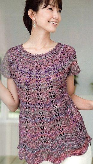 Le schéma de tricot crochet tunique