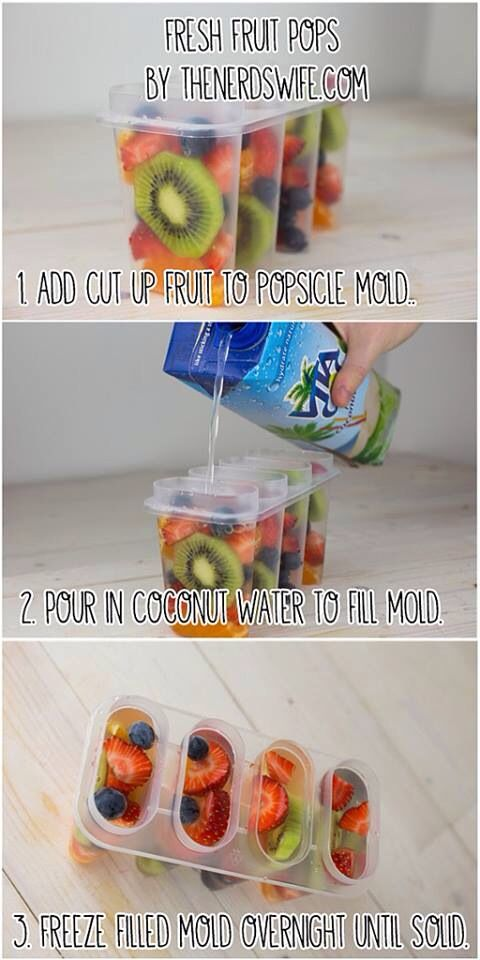 Coconut fruit popsicles. Easy, fun and good for you!