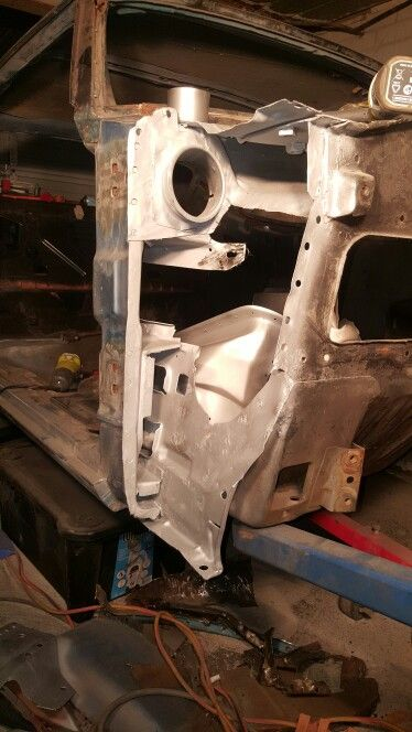 Cowl shoulder, removed, media blasted and in weld through primer ready  for the new cowl shoulder.
