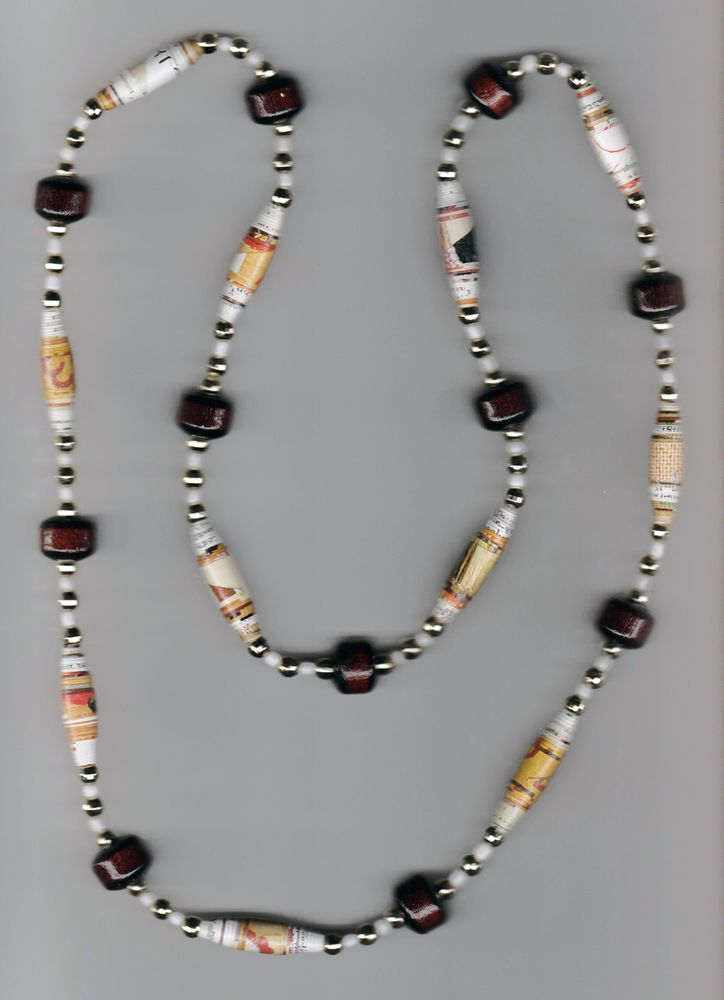 #31  Handmade Necklace, Paper Beads, gold beads, wood beads, white ceramic beads #JournalsbyJean