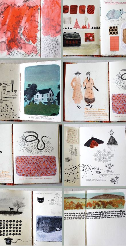 beautiful sketchbook spreads by Becca Stadtlander (previously) over at Julia's blog Books by its Cover.