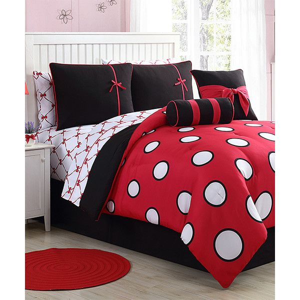 Victoria Classics Red & Black Sophie Comforter Set ($55) ❤ liked on Polyvore featuring home, bed & bath, bedding, comforters, red black comforter, red and black comforter sets, feminine bedding, red and black comforter and red black comforter set