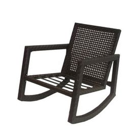 Allen Roth Lawley Textured Black Steel Strap Seat Patio Rocking Chair  Without Cushion