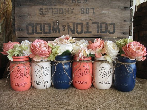Mason Jars, Ball jars, Painted Mason Jars, Flower Vases, Rustic Wedding Centerpieces, Navy Blue, Dark Coral And Creme Mason Jars