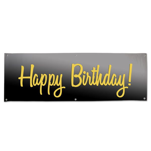 Elegant Vinyl Black And Gold Happy Birthday Banner With Grommets Happy Birthday Black Happy Birthday Banners Gold Birthday Banner