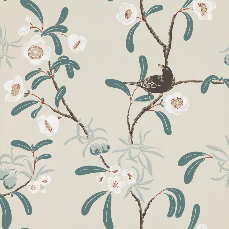 Antonia by Sandberg - Turquoise / Grey - Wallpaper ...