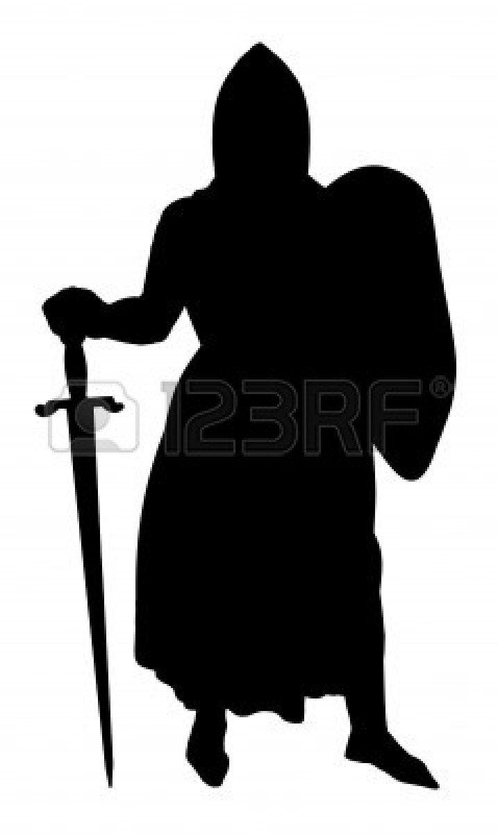 Middeleeuwse Ridder silhouet geïsoleerd op een witte achtergrond Stockfoto - 9551639