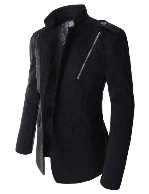 Showblanc(SBDJK10) Man's Slim Fit 1 Button Zipper Patch Casual Blazer at Amazon Men's Clothing store: