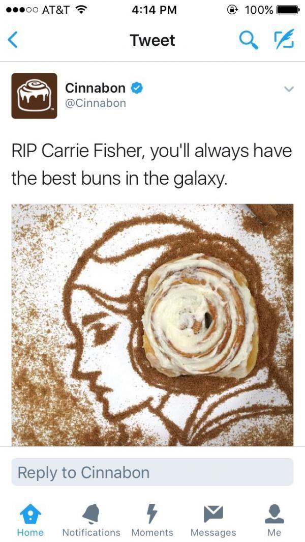 If you have a problem with Cinnabon making a pun about a hairstyle and the food they sell, then it's your problem. #RIPCarrie
