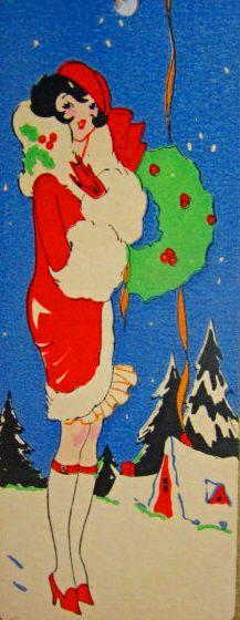 Art Deco Christmas Card... Love this lady.