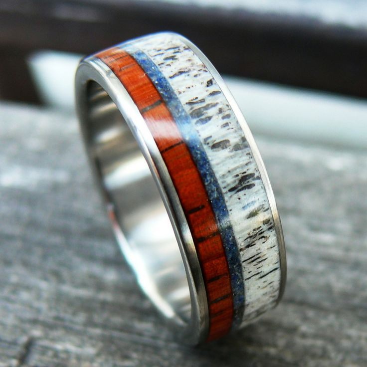 Handmade wood ring made out of deer antler, padauk wood, and lapis lazuli. This beautiful ring is not just a ring but a work of art. It is one of a kind and made my hand. Crafted out of titanium. Plea