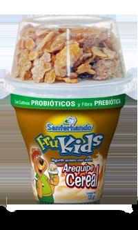 Frukids - Yogurth Bio con Cereal para Niños... ideal para la lonchera y un excelente alimento con cultivos probioticos y fibra prebiotica... sabores Arequipe, Vainilla, Melocotón y Fresa.