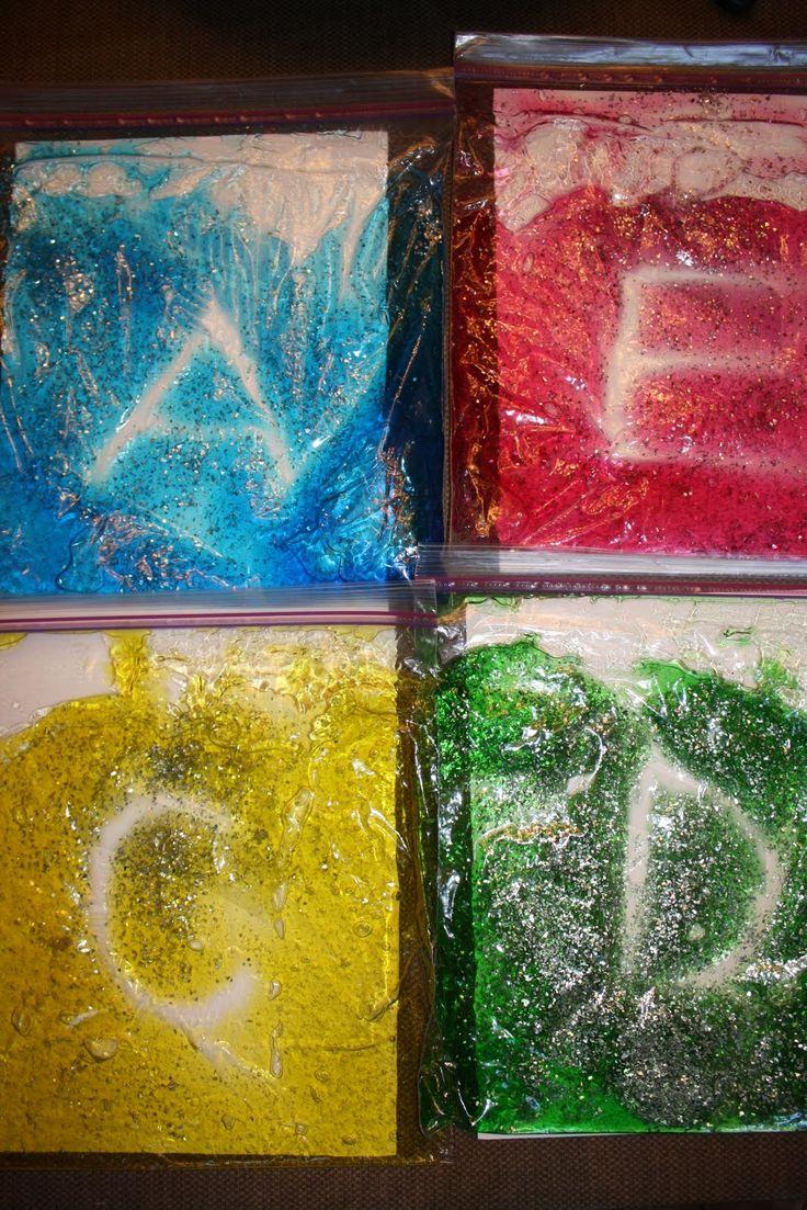 multisensory activities: just hair gel, glitter, food coloring, in a ziplock!