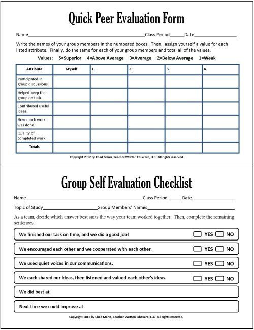 Group and peer assessment in group work -Cooperative Learning: 7 Free PDF Assessment Instruments