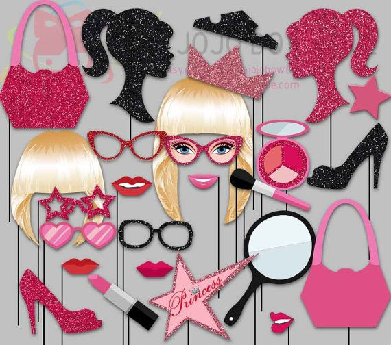 Glitter Barbie Doll Party Photo Booth Props by IraJoJoBowtique