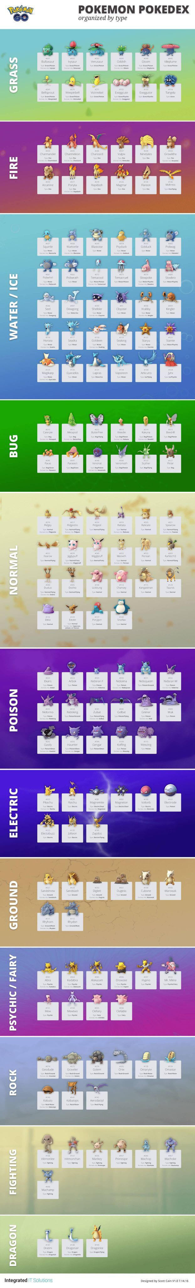 Pokemon GO Pokedex List Sorted by Type http://www.liveinfographic.com/i/pokemon-go-pokedex-list-sorted-by-type/ Tags: #infographic  #infographics #popular #pinterest #pinterestinfographics