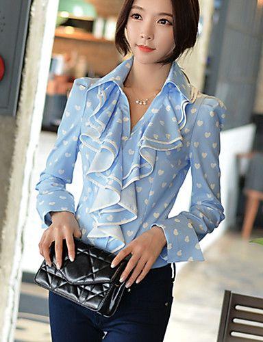 DABUWAWA® Da donna Colletto Maniche lunghe Shirt & Camicetta Blu chiaro-D15CST061 del 5164879 2017 a €44.09
