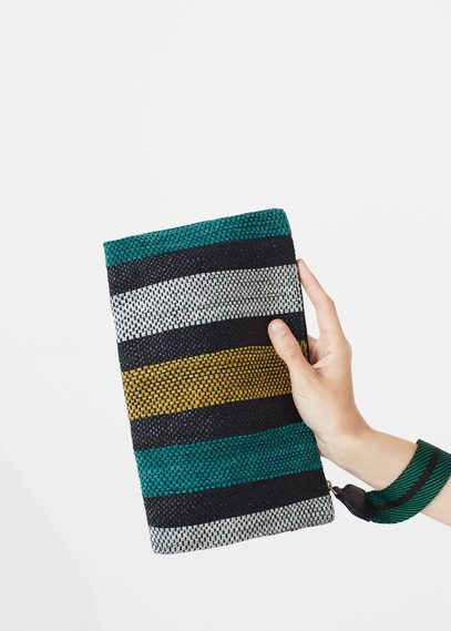 Leather stripes clutch