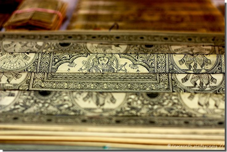 Palm leaf Pattachitra which in Odia language known as Tala Pattachitra, is a painting drawn on palm leaf. Palm leaves are sewn together to form like a canvas. The images are traced by using black or white ink to fill grooves etched on rows of equal-sized panels of palm leaf that are sewn together.