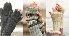 6 patrons gratuits et en français de mitaines sans doigts à faire au tricot et…