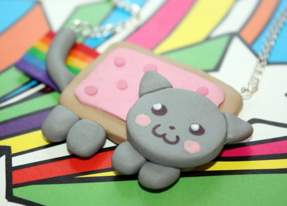 Nyan Cat Necklace D by KiIIerCupcake on Etsy, £7.00