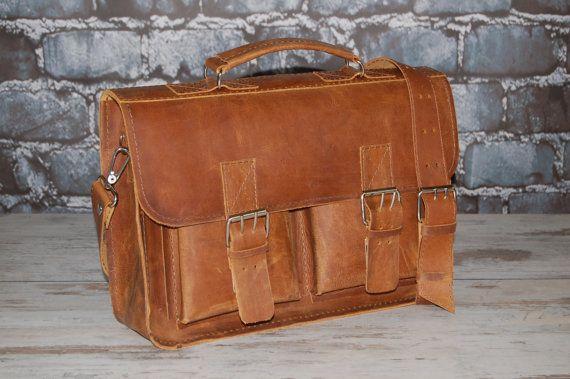 Leather Messenger Bag 15 Briefcase Handbag Satchel by etoidesign