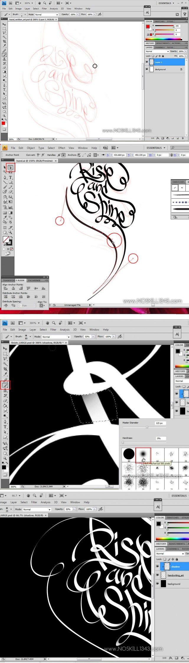 Calligraphy with Photoshop and Illustrator…