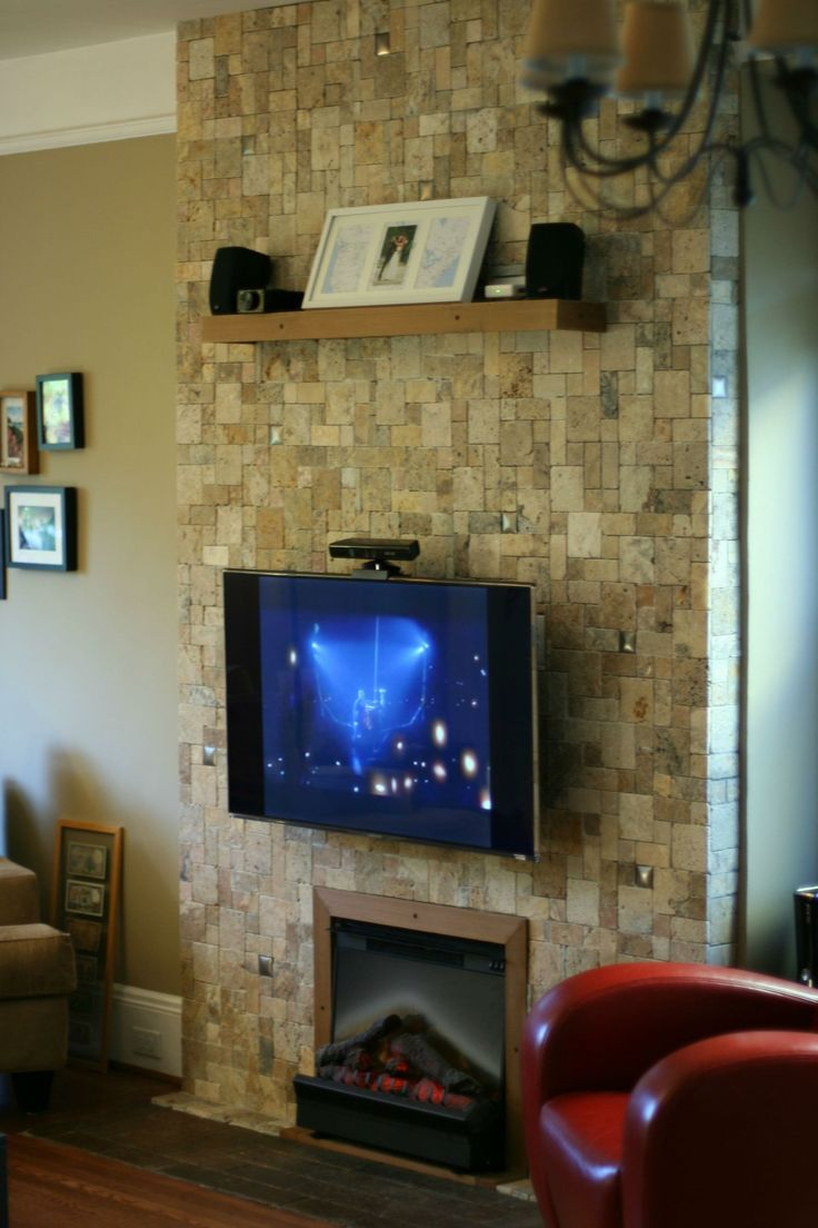 Stone fireplace designs and remodel pictures to pin on pinterest - Wall Remodel To Accommodate A Forced Air Electric Fireplace And A Tv Mounted On An