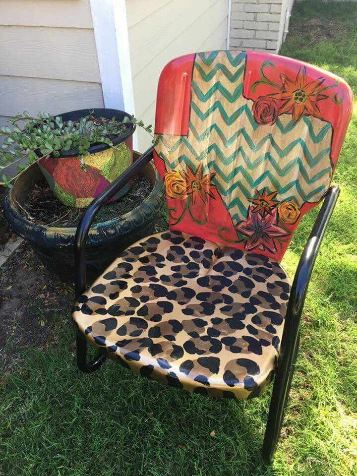 Awesome Texas Painted Patio Chair Metalchair Painted Metal