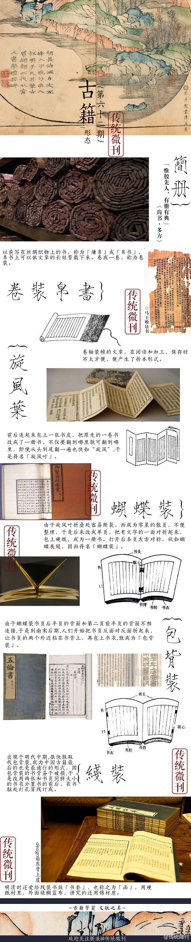The different designs of traditional Chinese book-binding.