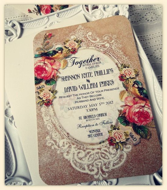 This is a beautiful invitation!     Vintage Pink Rose Wedding Invitation Design