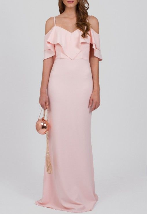 Vestido longo com babado duplo no busto rosa bebê Powerlook - powerlook-V-MOB