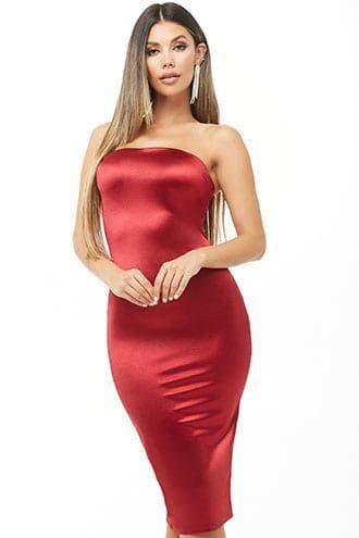 044700a9060 Satin Tube Midi Dress