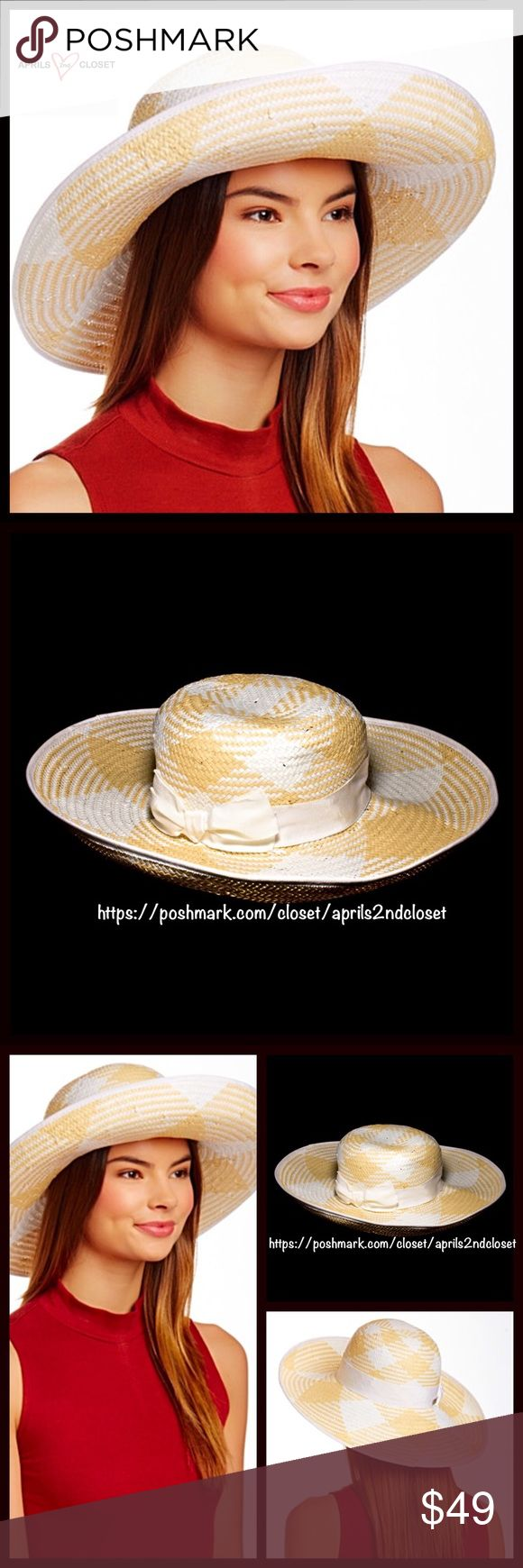 """Betmar Wide Brim Hat Betmar Wide Brim Hat 💟NEW WITH TAGS💟  RETAIL PRICE: $78   * Pattern woven construction; Approx. 5"""" brim (much larger than a fedora ).  * Contrasting band trim accent w/bow detail.   * Allover smooth weaved texture.  * Tagged-One size fits most.  Fabric: 100% Paper Color: White & Natural  Item# Floppy 🚫No Trades🚫 ✅ Offers Considered*/Bundle Discounts✅  *Please use the blue 'offer' button to submit an offer. Betmar Accessories Hats"""
