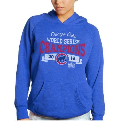 Women's Chicago Cubs Majestic Threads Royal 2016 World Series Champions Pullover Hoodie