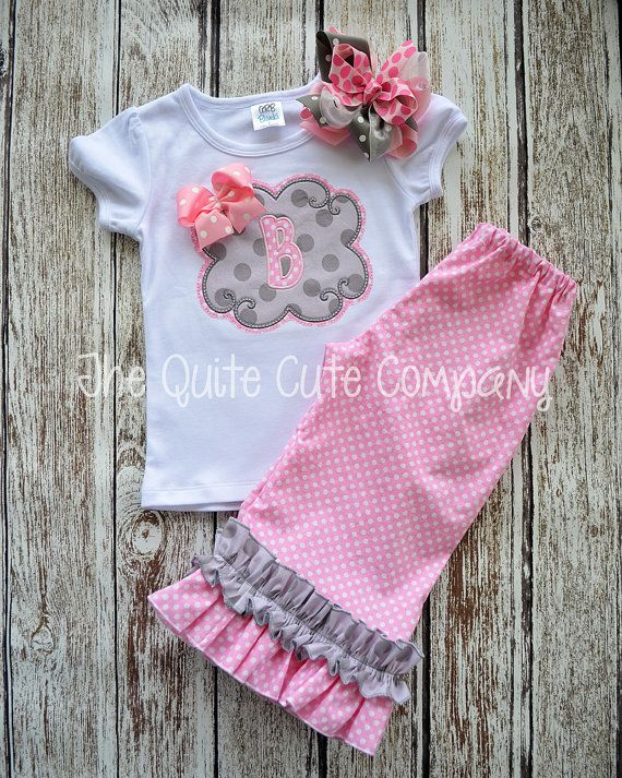 Girls Double Ruffle Pants and Applique Monogram Shirt- Pink and Gray with Double Applique Scallop Patch and Monogram