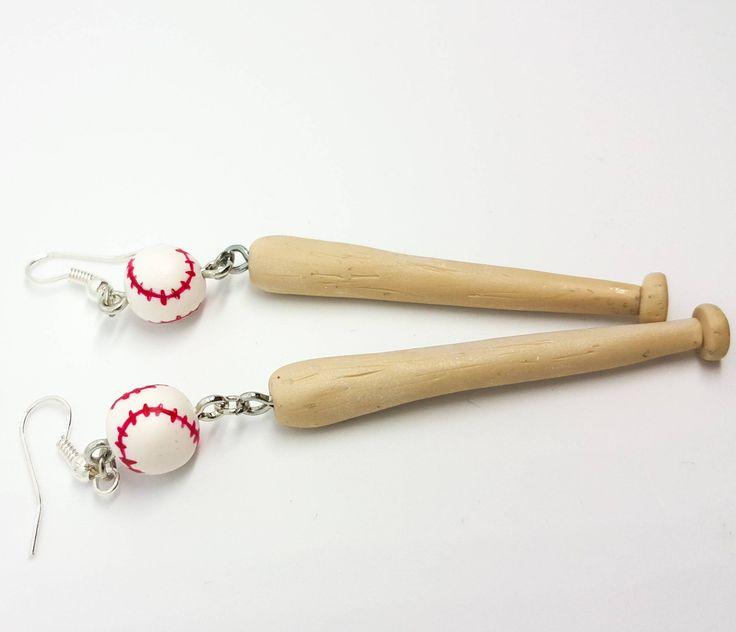 Baseball earrings,Sports Jewelry, Baseball bat, cheerleader earrings, cheerleader gifts, polymer clay earrings,Polymer clay jewelry #myfimo #bystellakyriakou #etsy #polymerclayjewelry #handmade #handmadejewelry #jewelry #earrings #dropearrings #baseball #baseballearrings #cheerleaderearrings #sportsgift #sportsearrings http://etsy.me/2ocH6ZD