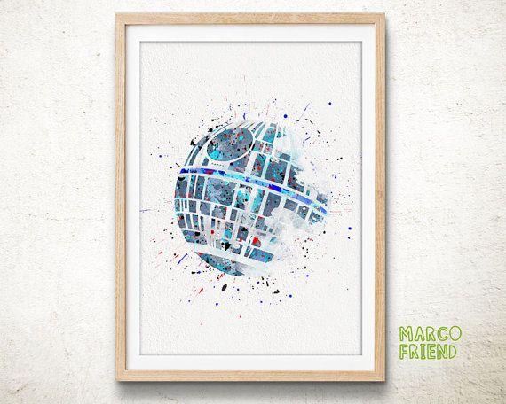 Death Star, Star Wars - Watercolor, Art Print, Home Wall decor, Watercolor Print, Death Vader Poster