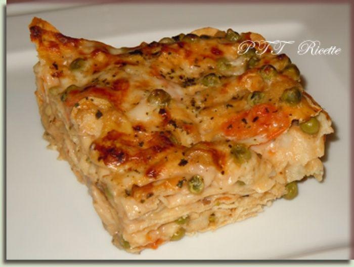Lasagne di pane carasau con funghi e piselli