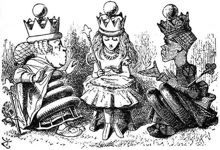 Red and White Queens talking to Alice- this website has all of the John Tennel Illustrations from both books.