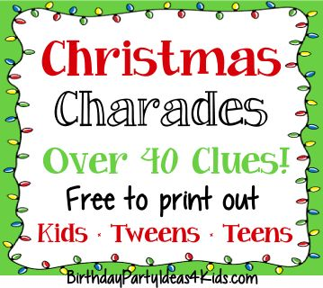 christmas charades game clues