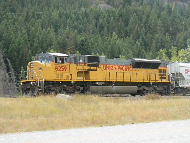 Union Pacific 8259 heading east toward Crowsnest Pass in south eastern British Columbia, Canada.