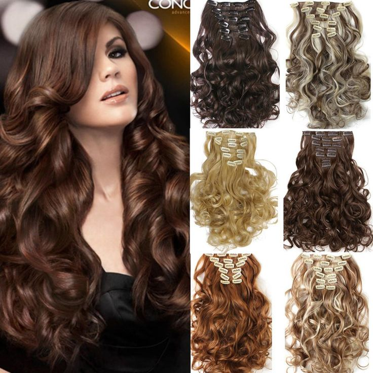 7pcs/set Clip In Hair Extension Curly Synthetic  Wavy Hair Extensions - Stylish n Trendier - 1