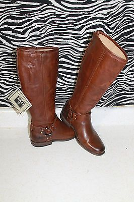 Women's Frye Phillip Harness Cognac Leather Tall Boots Size ...