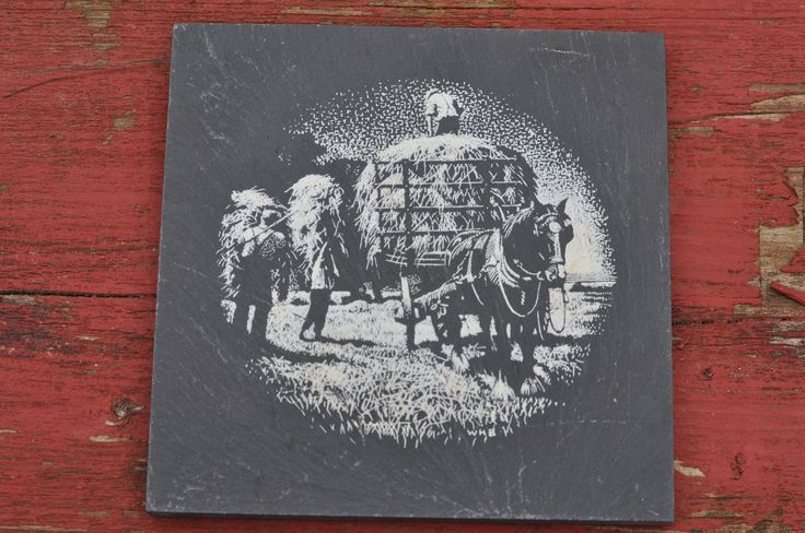 https://www.etsy.com/listing/518807714/tile-vintage-stone-slate-decorative?ref=shop_home_active_10 #vintage #tile #painted #slate #stone #horses #hay #bales #farmhouse #worker #family #father #gift #decorative #white #black #gray #signed #w #signature #mark