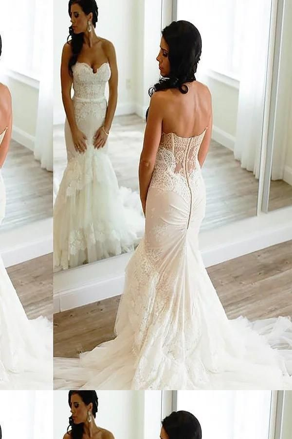Discount Magnificent Ivory Wedding Dresses, Lace Wedding Dresses, Wedding Dresses Mermaid, Sexy Wedding Dresses