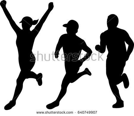 Collection set of illustrations of silhouettes of male and female marathon triathlete runner running winning finishing race on isolated background.  #triathlete #silhouette #illustration
